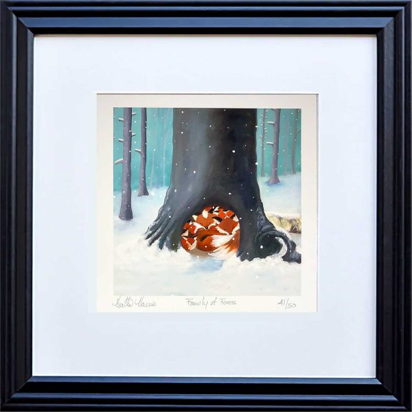 Fox family print in frame