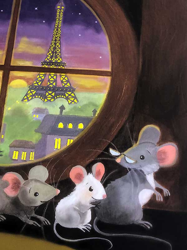Paris mice print closeup