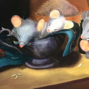 Sleeping mice print closeup