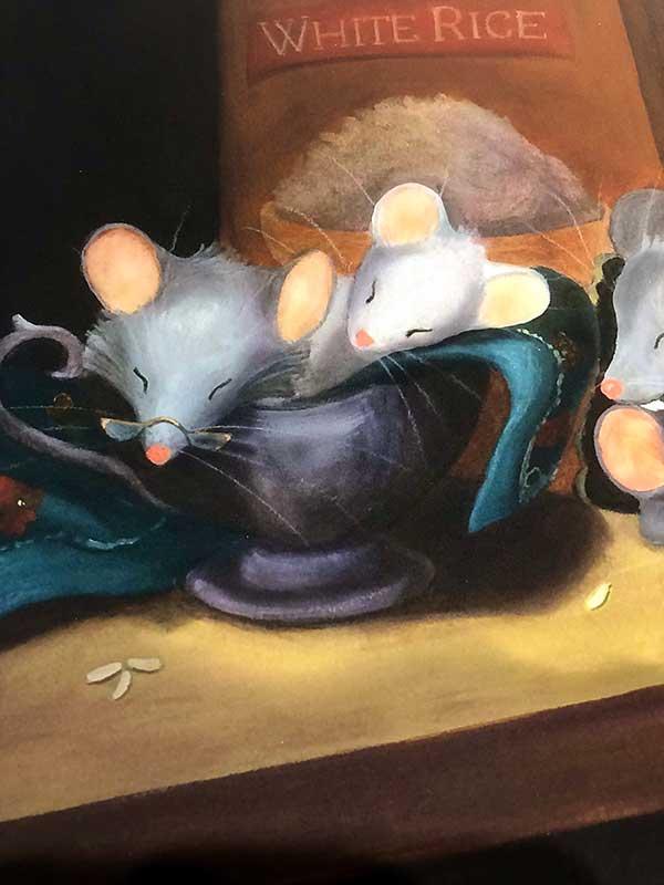 Sleeping mice print closeup