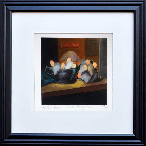 Sleeping mice print framed